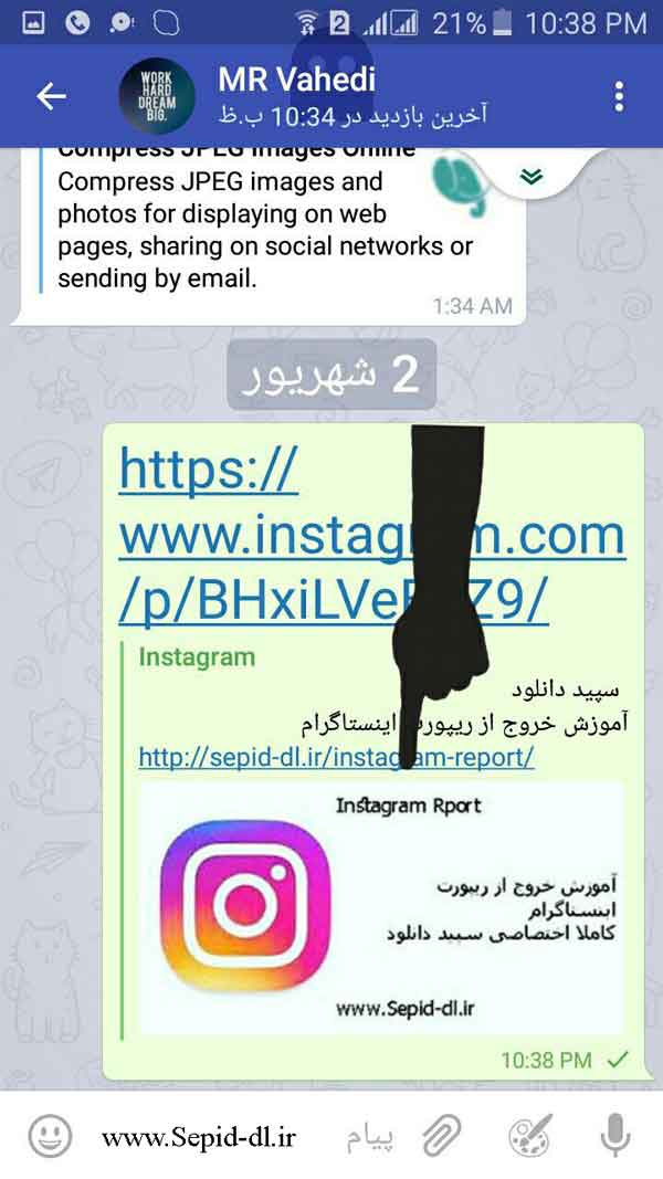 دانلود عکس از اینستاگرام به وسیله تلگرام